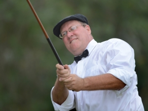 Gary Cole of Sarasota wears golf attire akin to the hickory era of the early 1900s. (Sept 13, 2012) (Herald-Tribune staff photo by Dan Wagner)